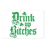 Drink Up Bitches Funny Irish Postcards (Package of