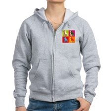 Pitbull Terrier Silhouette Pop Art Zip Hoodie