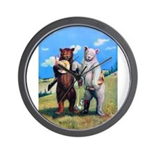 Roosevelt Bears Hiking Out West Wall Clock