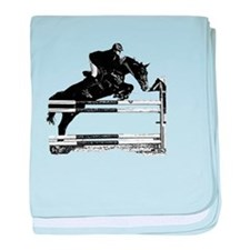 Show Jumper on a dark horse baby blanket