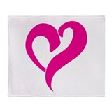 Pink Graffiti Heart Throw Blanket