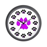 Paws Up Purple Paw Wall Clock