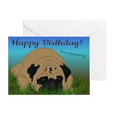 Pug birthday greeting card