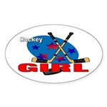 Hockey Girl Oval Sticker