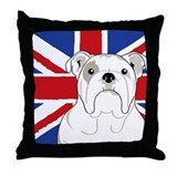 English Bulldog Flag Throw Pillow