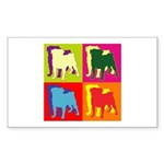 Pug Silhouette Pop Art Sticker (Rectangle 50 pk)