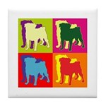 Pug Silhouette Pop Art Tile Coaster