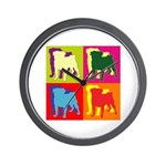 Pug Silhouette Pop Art Wall Clock