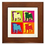 Pug Silhouette Pop Art Framed Tile