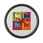 Pug Silhouette Pop Art Large Wall Clock
