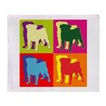 Pug Silhouette Pop Art Throw Blanket