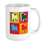 Pug Silhouette Pop Art Large Mug