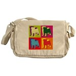 Pug Silhouette Pop Art Messenger Bag