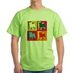 Pug Silhouette Pop Art Green T-Shirt