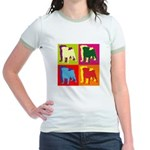 Pug Silhouette Pop Art Jr. Ringer T-Shirt