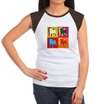 Pug Silhouette Pop Art Women's Cap Sleeve T-Shirt