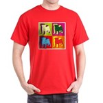 Pug Silhouette Pop Art Dark T-Shirt