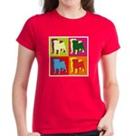 Pug Silhouette Pop Art Women's Dark T-Shirt