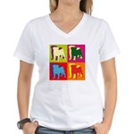 Pug Silhouette Pop Art Women's V-Neck T-Shirt