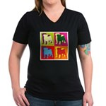 Pug Silhouette Pop Art Women's V-Neck Dark T-Shirt