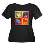 Pug Silhouette Pop Art Women's Plus Size Scoop Nec