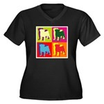 Pug Silhouette Pop Art Women's Plus Size V-Neck Da