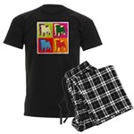 Pug Silhouette Pop Art Men's Dark Pajamas