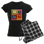 Pug Silhouette Pop Art Women's Dark Pajamas