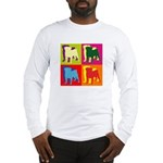 Pug Silhouette Pop Art Long Sleeve T-Shirt