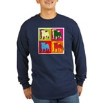 Pug Silhouette Pop Art Long Sleeve Dark T-Shirt