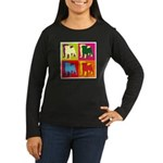 Pug Silhouette Pop Art Women's Long Sleeve Dark T-