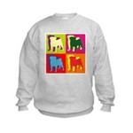 Pug Silhouette Pop Art Kids Sweatshirt