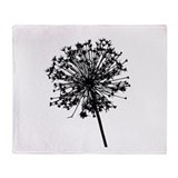 Cute Black dandelion Throw Blanket