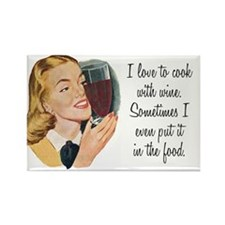Cook With Wine Fridge Magnet