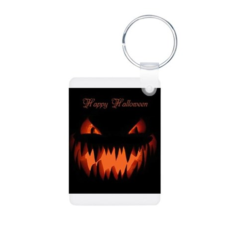 Happy Halloween Pumpkin Aluminum Photo Keychain