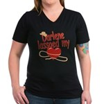 Darlene Lassoed My Heart Women's V-Neck Dark T-Shi