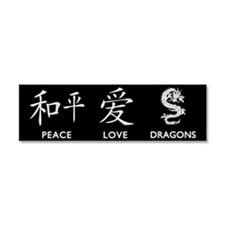 Peace, Love, Dragons Car Magnet 10 x 3