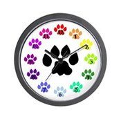 Paws Up Rainbow Paws Wall Clock