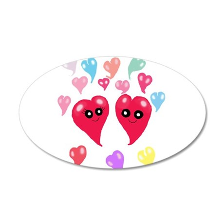Cute Chibi Hearts 38.5 x 24.5 Oval Wall Peel