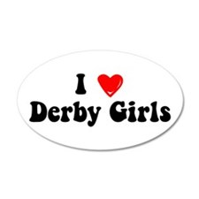 I Heart Derby Girls 38.5 x 24.5 Oval Wall Peel