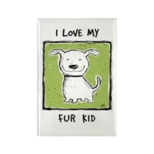 """I Love My Fur Kid"" (green) Rectangle Magnet"