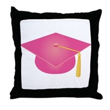 Pink Graduation Cap Throw Pillow