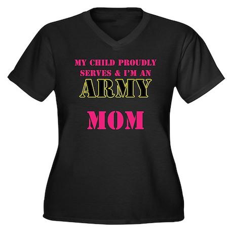 ARMY All Women's Plus Size V-Neck Dark T-Shirt