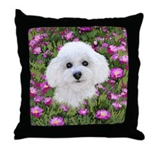 Bichon in Flowers Throw Pillow