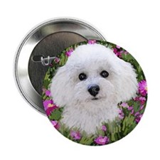 Bichon in Flowers Button