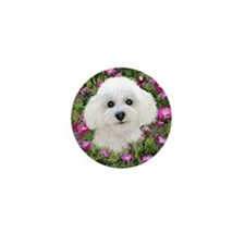 Bichon in Flowers Mini Button