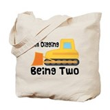 Personalized 2nd Birthday Bulldozer Tote Bag