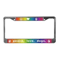 Peace. Love. Dogs. License Plate Frame