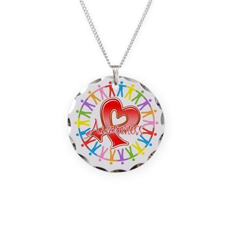 AIDS Unite in Awareness Necklace Circle Charm