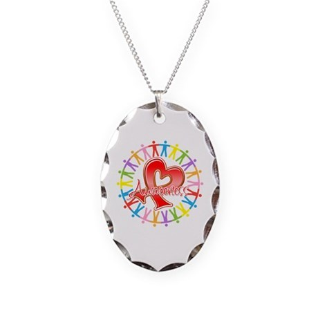 AIDS Unite in Awareness Necklace Oval Charm